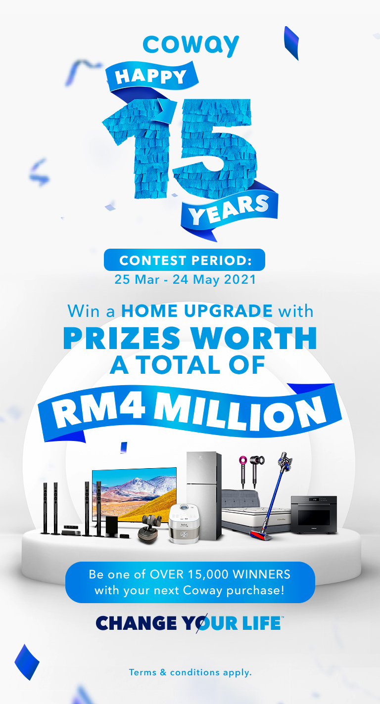 Coway Happy 15 Years Contest More than 15,000 winners will stand a chance to bring home prizes worth a total of  RM4,000,000!